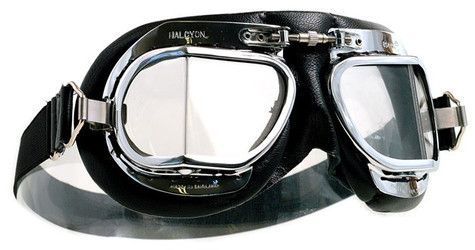 Halcyon Mark 49 Deluxe Aviator Motorcycle Goggle with Black Leather Trim