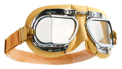 Halcyon Mark 49 Deluxe Aviator Motorcycle Goggle with Tan Leather Trim