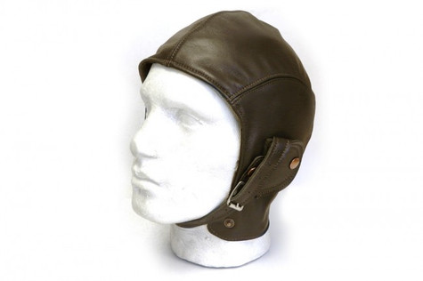 Halcyon Aviator Motorcycle Cap in Brown Lamb Leather