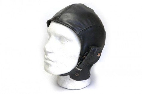 Halcyon Aviator Motorcycle Cap in Black Lamb Leather