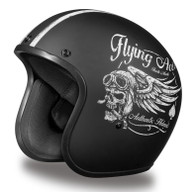 Daytona Cruiser Moto Helmet in Flat Black with Flying Aces Artwork