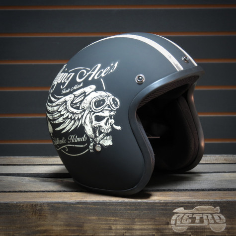 Daytona Cruiser Moto Helmet in Flat Black with Flying Aces Artwork - Overview