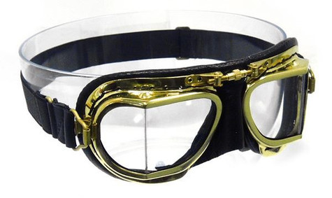 Halcyon Compact 49 Antique Aviator Motorcycle Goggle in Black Leather with Polished Brass Frames
