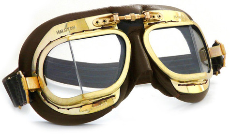 Halcyon Mark 49 Antique Aviator Motorcycle Goggle in Brown Leather with Brass Frames