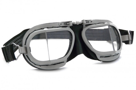Halcyon Compact 9 Rider Aviator Motorcycle Goggle in Black - Front