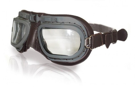 Halcyon Retro Aviator Motorcycle Goggle in Brown Leather with Grey Powdercoated Frames