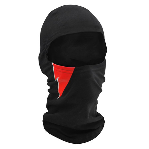 ZAN Balaclava in Black Bamboo/Cotton with Embroidered Lightning Bolt design
