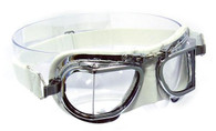 Halcyon Compact 49 Deluxe Aviator Motorcycle Goggle in White Leather with Chrome