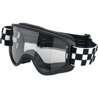 Biltwell Moto 2.0 Motorcycle Goggle in Checkers Black Design - Front