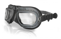 Halcyon Retro Aviator Motorcycle Goggle in Black Leather with Grey Powdercoated Frames
