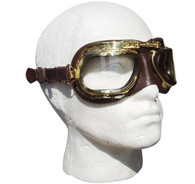 Halcyon Retro Aviator Motorcycle Goggle in Brown Leather with Natural Brass Frames