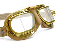 Halcyon Compact 49 Antique Aviator Motorcycle Goggle in Tan Leather with Polished Brass Frames - Side View