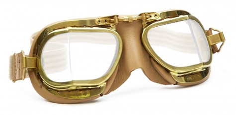 Halcyon Compact 49 Antique Aviator Motorcycle Goggle in Tan Leather with Polished Brass Frames - Front View