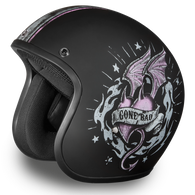 "Daytona Cruiser 3/4 Open Face D.O.T. Helmet in Flat Black with ""Gone Bad"" Artwork - Overview"