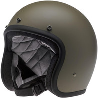 Biltwell Bonanza 3/4 DOT-Approved Motorcycle Helmet in Flat Olive - Left Overview