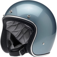 Biltwell Bonanza 3/4 DOT-Approved Motorcycle Helmet in Gloss Blue Steel - Left Overview