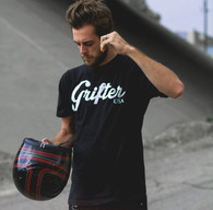 Grifter Logo T-Shirt in Black - In Action