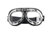 RBG Aviator Goggle in Black with Chrome trim and Clear Lens