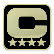 Black Captain 'C' Lapel Pin - 4 Gold Stars, Gold 'C'
