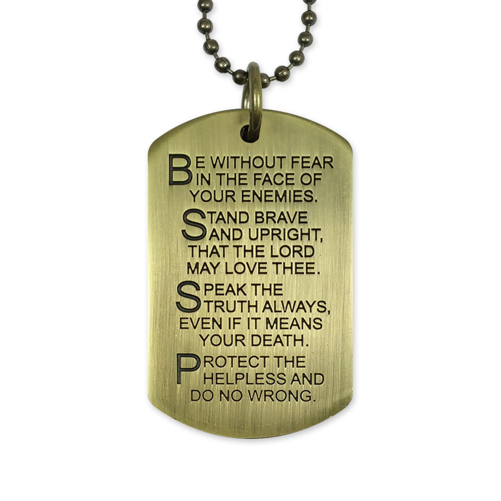 Knights Templar Code Dog Tag With Golf Marker Inserts