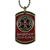 Front Knights Templar Code Dog Tag with Colored Golf Marker Insert