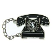 Vintage Dial Phone Lapel Pin Soft Enamel Silver Plating Metal