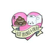 Best Friends Forever Lapel Pin Hard Enamel Black Dyed Plating