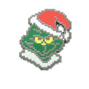 8-Bit Grinch Lapel Pin Hard Enamel Black Nickel