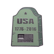USA Headstone Lapel Pin Hard Enamel Black Nickel