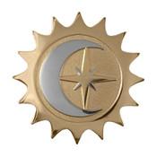 Moon Sun Star Lapel Pin Diestruck Gold Silver Dual Plated