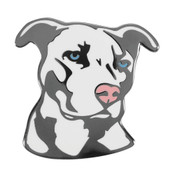 Dog - Pit Bull - White Lapel Pin Hard Enamel Black Nickel