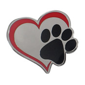 Dog Paw - Heart Lapel Pin Hard Enamel Silver