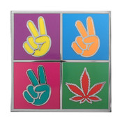 Pop Art Peace Hands Lapel Pin Hard Enamel Silver