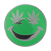 Smiley Face - Weed Eyes Lapel Pin Hard Enamel Black Nickel