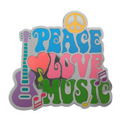 Peace Love Music Lapel Pin Hard Enamel Black Nickel