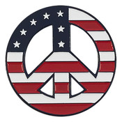 Peace Sign - US Flag Lapel Pin Soft Enamel PMS 282 Dyed Metal