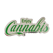 Enjoy Cannabis Lapel Pin - Silver