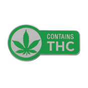 Contains THC Lapel Pin Hard Enamel Silver