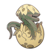 Hatching Dinosaur Lapel Pin Hard Enamel Black Nickel
