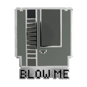 8-Bit NES Blow Me Lapel Pin Hard Enamel Silver Metal