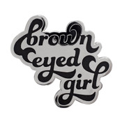 Brown Eyed Girl Lapel Pin Hard Enamel Silver Metal
