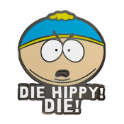 Die Hippy! Die! Lapel Pin Hard Enamel Black Nickel Metal