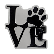 Dog Paw - LOVE Lapel Pin Hard Enamel Silver