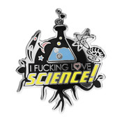 I Fucking Love Science - Logo Lapel Pin Hard Enamel Silver