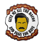 Give Me All Your Bacon & Eggs Lapel Pin Hard Enamel Black Nickel