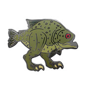 Land Piranha Lapel Pin Hard Enamel Black Nickel
