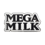 Mega Milk Text Lapel Pin Hard Enamel Silver
