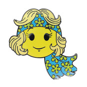Smiley Lady Hippy Lapel Pin Hard Enamel Black Nickel