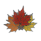 Fall Maple Leaves Lapel Pin Hard Enamel Black Nickel