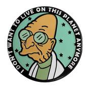 Futurama - Farnsworth Wants to Leave Lapel Pin Soft Enamel Black Dyed Metal